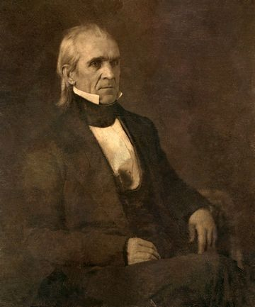 James K. Polk, in a restored 1849 daguerrotype that is the oldest image of a serving American president