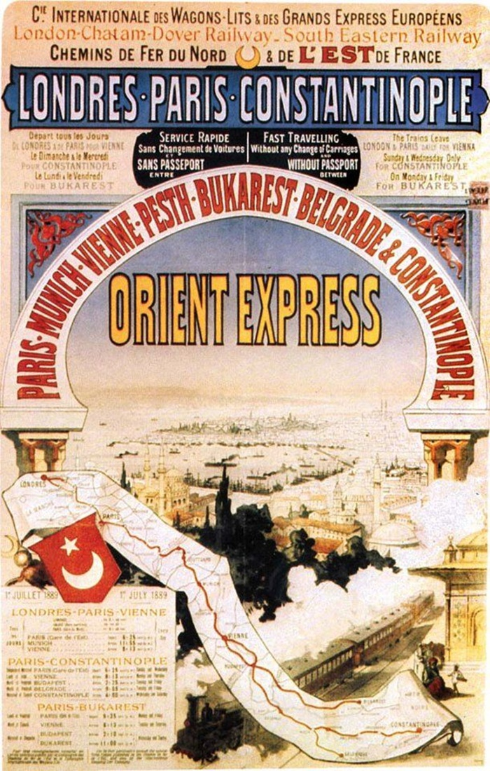 Poster advertising the Orient Express schedule