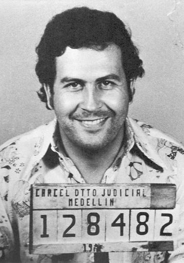 A mugshot of Colombian drug lord Pablo Escobar taken in 1977