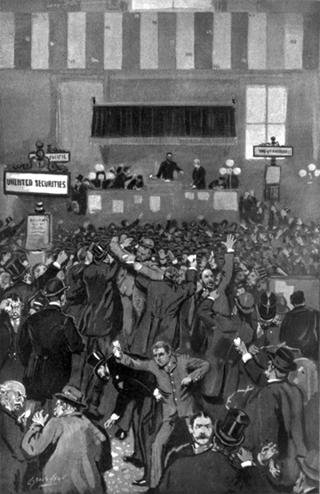 The panicked scene at the New York Stock Exchange on the infamous morning of Friday, 5 May, 1893