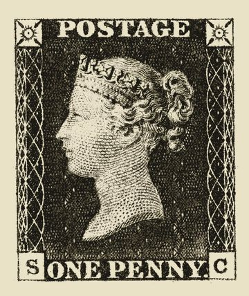 The Penny Black stamp featured Queen Victoria