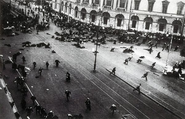 Protesters scatter in Petrograd shortly after Russian government troops opened fire