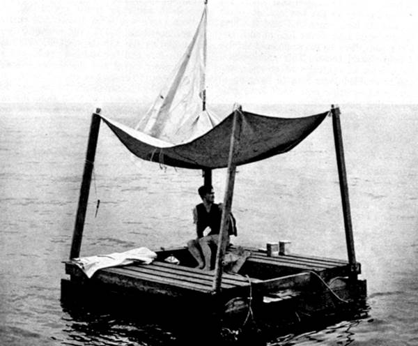 Poon Lim and his raft, photo made on request of the US Navy for its Survival Training.