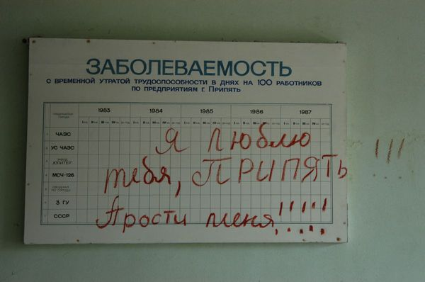 'I Love You Pripyat, Forgive Me!' scrawled on the walls of a Pripyat clinic during its hasty evacuation after the Chernobyl disaster