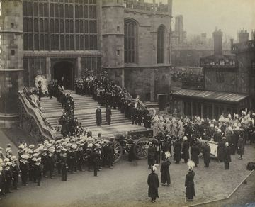 The funeral cortege of Queen Victoria outside St George's Chapel, Windsor Castle on February 2, 1901