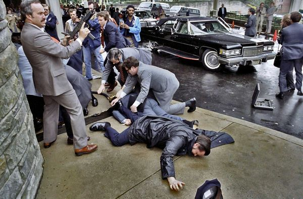 The scene moments after John Hinckley, Jr. attempted to assassinate President Reagan on March 30, 1981