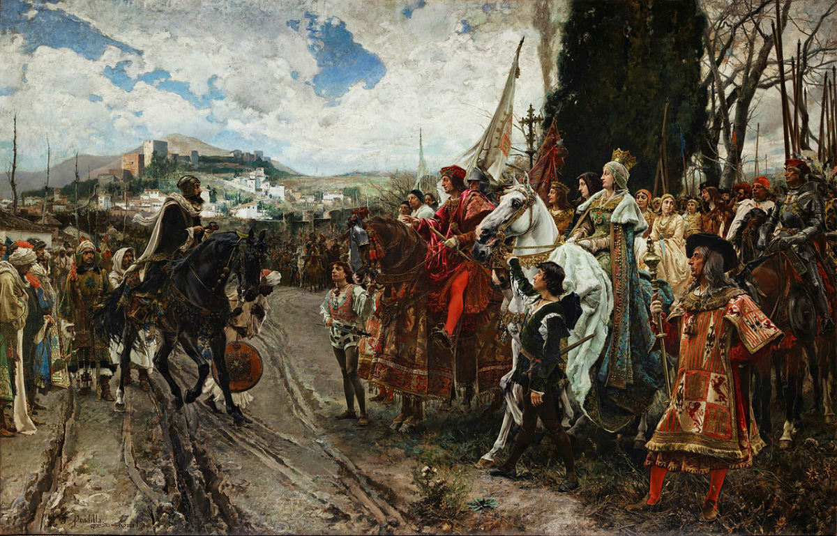 The Surrender of Granada by Francisco Pradilla Ortiz: Ferdinand II of Aragon and Isabella I of Castile accept the surrender of Granada