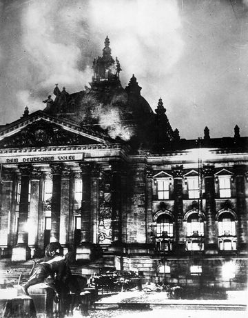 The Reichstag building in Berlin, housing the German Parliament, on fire during the night of February 27, 1933.