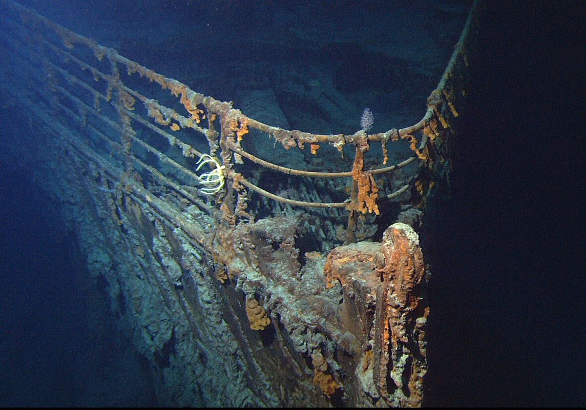 The wreck of the RMS Titanic at the bottom of the ocean, photographed in 2004