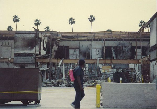 Damage in Los Angeles after the 1992 riots, which killed 63 people and caused over $1 billion in damages