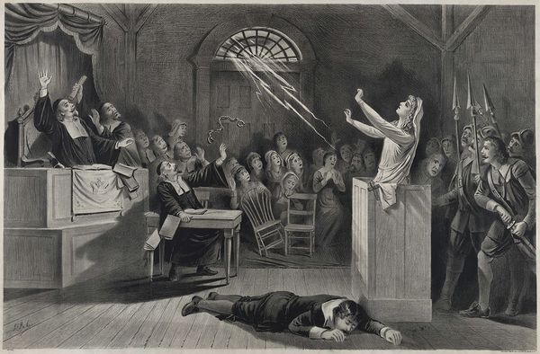 Dramatic lithograph of the Salem witch trials produced in 1892