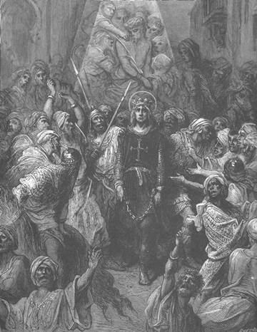 Louis IX being taken prisoner by Baibars' Mamluk army