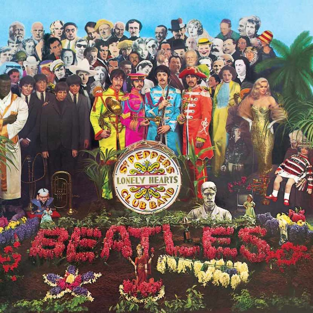 One of the most famous album covers in music history, The Beatles' Sgt Pepper's Lonely Heart's Club Band, designed by artists Peter Blake and Jann Haworth
