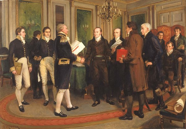 The signing of the Treaty of Ghent on Christmas Eve
