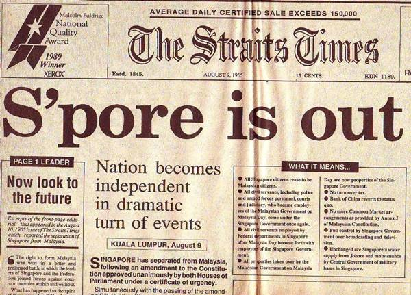 Front page of The Straits Times announcing Singapore Independence