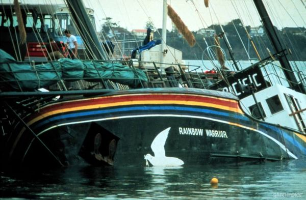 The Rainbow Warrior sunk in Auckland harbour