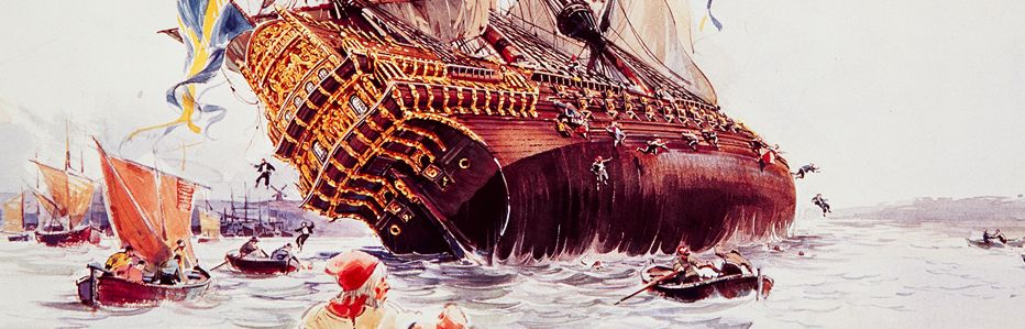 Swedish warship Vasa sinking in Stockholm harbor