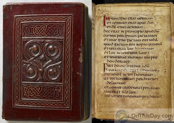 The St. Cuthbert Gospel cover and the first page of text