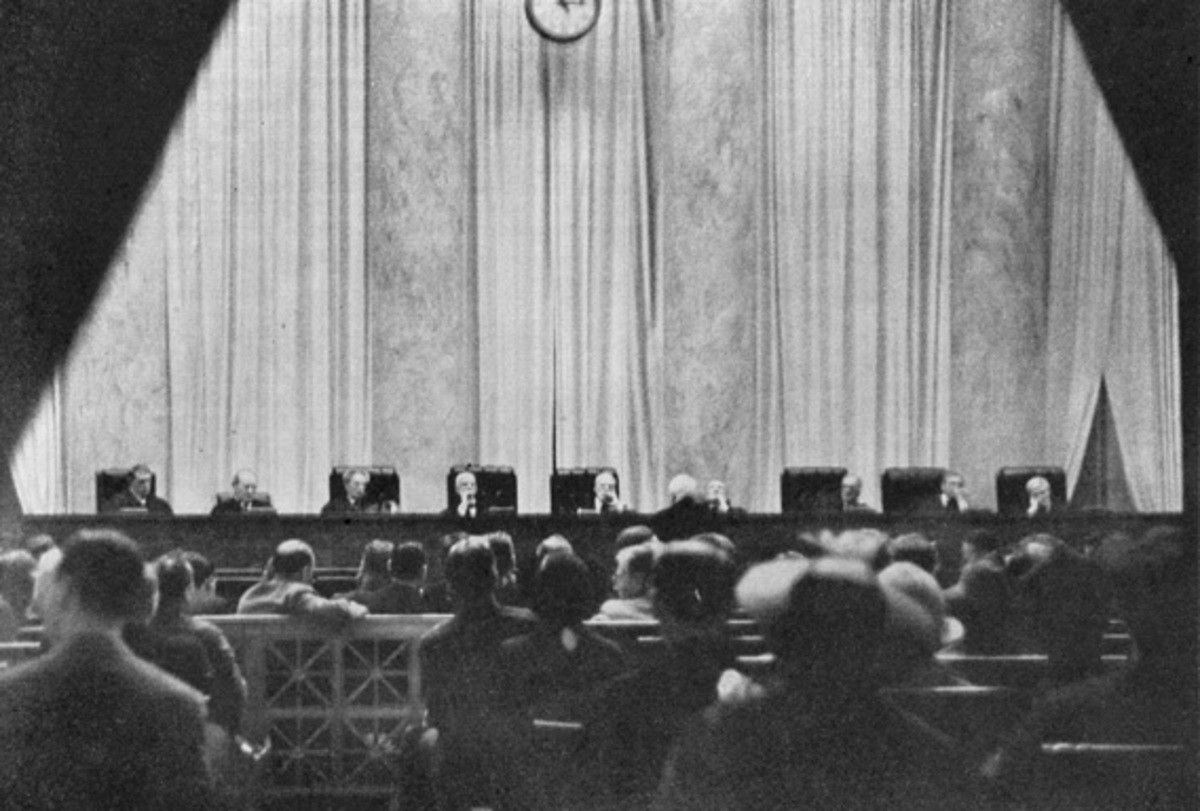 One of two photos ever taken of the United States Supreme Court in session