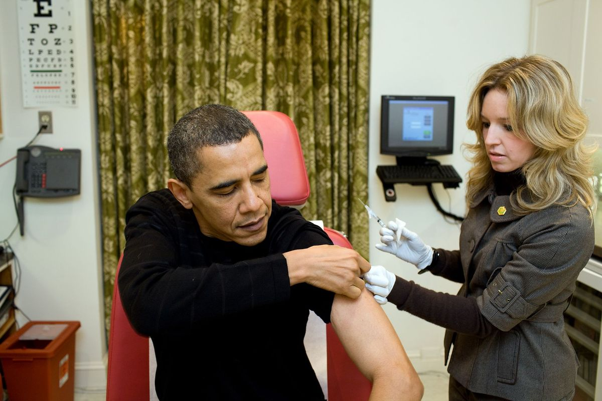President Barack Obama receives his flu jab during the 2009 swine flu pandemic