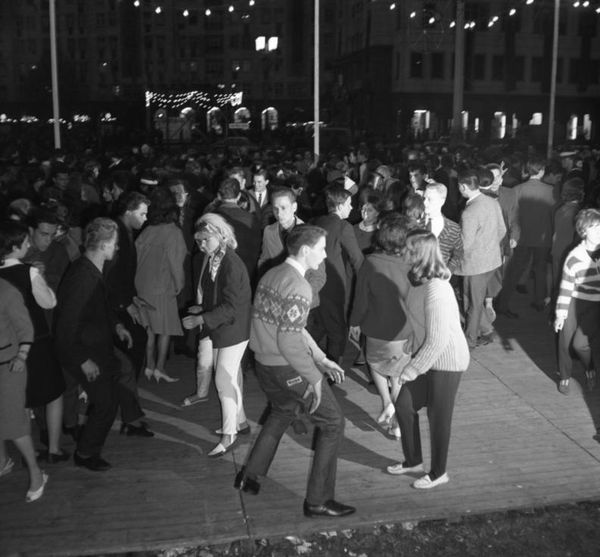 Young people in Berlin taking part in the Twist dance craze, 1964