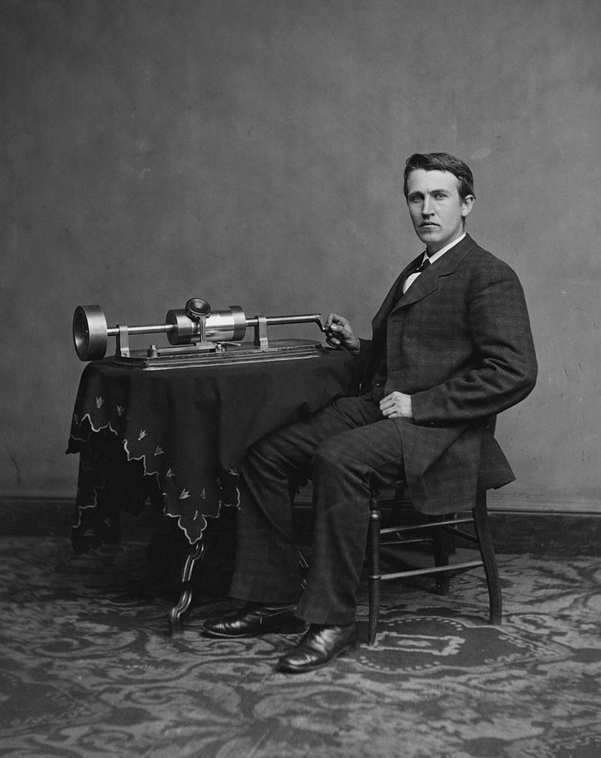Thomas Edison with his second phonograph, photographed in 1878