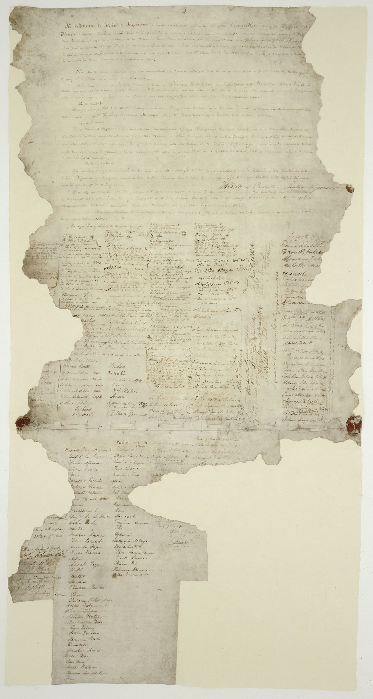 The Treaty of Waitangi, signed by the British Crown and various Māori chiefs
