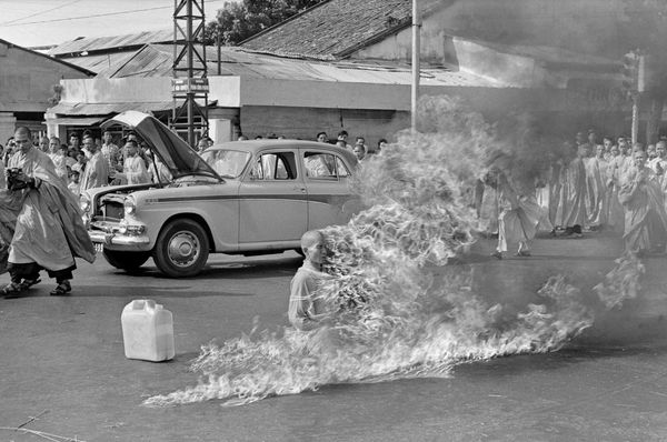 Thích Quảng Đức moments after setting fire to himself in Saigon as an act of protest