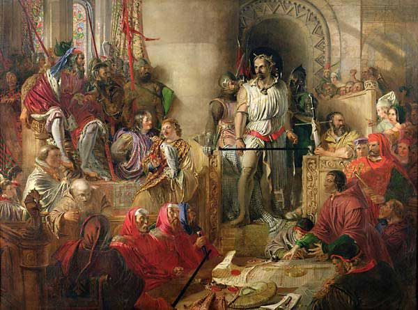 William Wallace on trial at Westminster Hall in a painting by Daniel Maclise
