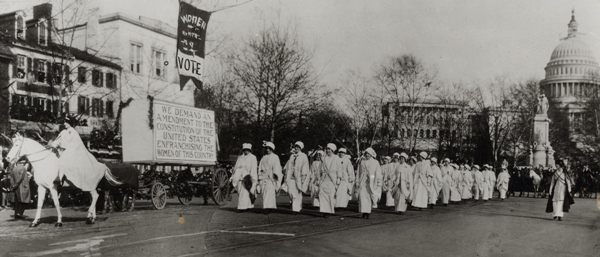Inez Milholland at the head of the Woman Suffrage Procession through Washington, DC
