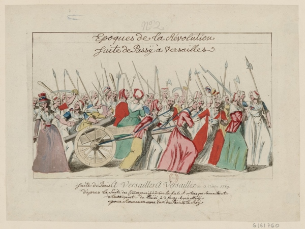 Women of Paris marching to Versailles, one of the earliest and most significant events of the French Revolution