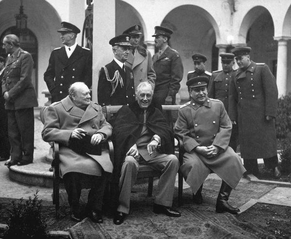 Conference of the Big Three at Yalta (from left to right) Winston Churchill, Franklin D. Roosevelt and Joseph Stalin